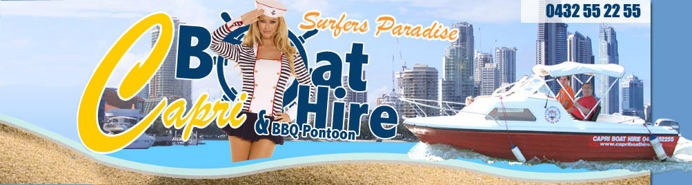 Capri Boat Hire Gold Coast boat hire banner